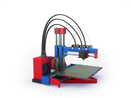 additive manufacturing: 3d printer red blue 3d rendering on white background