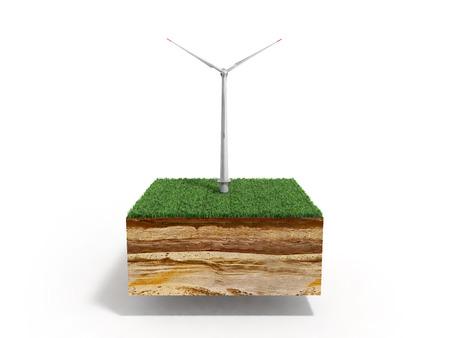 白で隔離草で地面の断面の代替エネルギー 3 d イラストのコンセプト