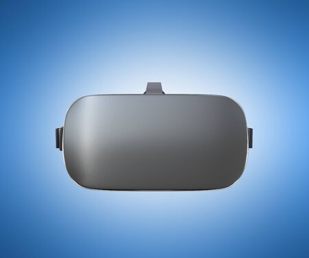 viewer: Black and White VR Virtual Reality Headset front Isolated on blue Background 3D Illustration