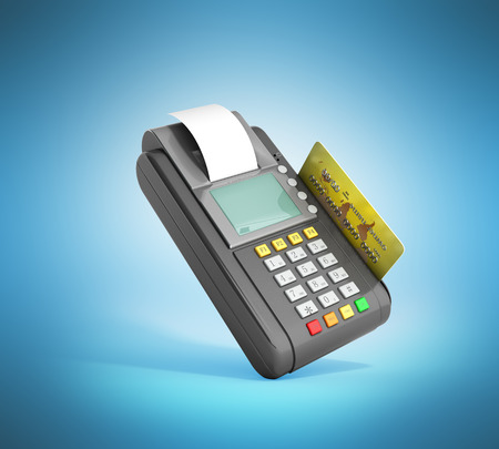 Credit Card trminal Machine 3D rendering on blue Stock Photo