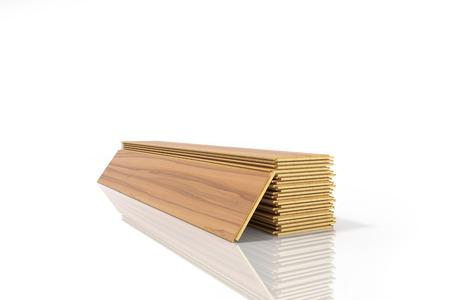 흰색 배경에 고립 된 목조 라미네이트 건설 널빤지의 집합 스톡 콘텐츠