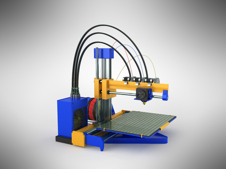 3d printer blue yellow 3d rendering on gray background