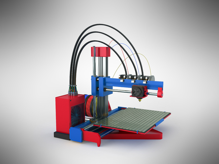 3d printer red blue 3d rendering on gray background Stock Photo