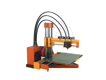 3d printer red orange 3d rendering on white background no shadow Stock Photo