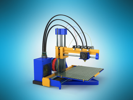 3d printer blue yellow 3d rendering on blue background Stock Photo