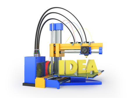 3d printer idea front yellow blue 3d rendering on white background