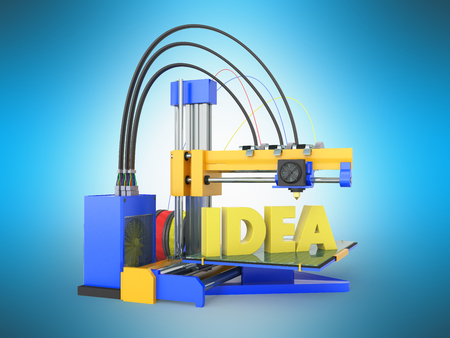 3d printer idea front yellow blue 3d rendering on blue background Stock Photo