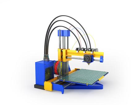 3d printer blue 3d rendering on white background