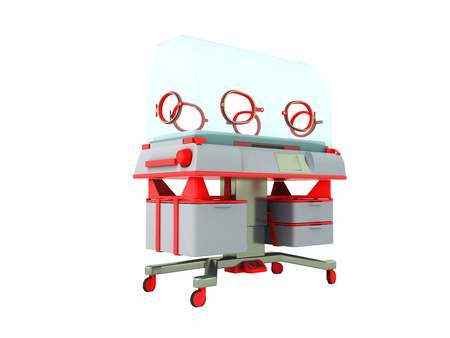 premature: Incubator for children red 3d render on white background no shadow