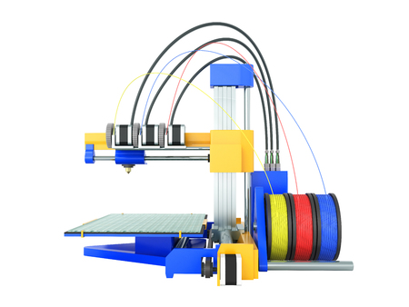 additive manufacturing: 3d printer yellow blue front 3d render on white background no shadow