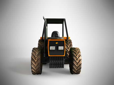 machinery: Tractor orange front 3d render on gray background