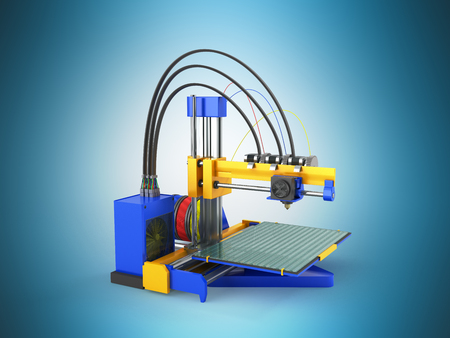additive manufacturing: 3d printer blue 3d rendering on blue background