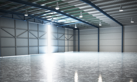 lege hangaar levering magazijn 3d render afbeelding Stockfoto