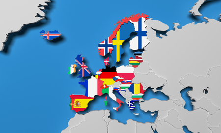 European Economic Area 3d render map Imagens - 83727373