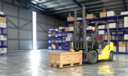 Concept of warehouse The forklift in the big warehouse delivery background 3d illustration Banco de Imagens