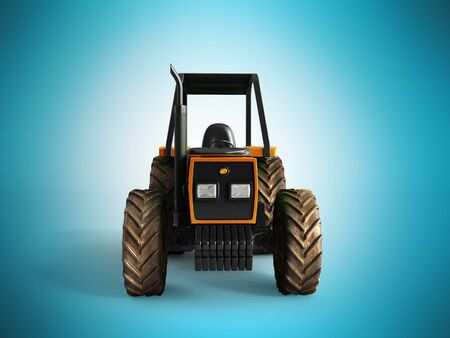 tractor trailer: Tractor orange front 3d render on blue background