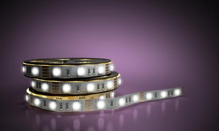 Diode strip Led lights tape in holder close-up 3d render on blue  glass flor