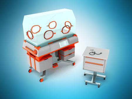 premature: Incubator for children orange with bedside table 3d render on blue background