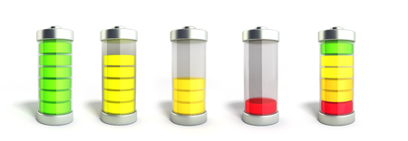 Battery charging collection Battery charge level indicators on white 3d illustration Stock Photo