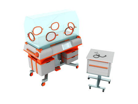 bedside: Incubator for children orange with bedside table 3d render on white background no shadow