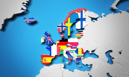 유럽 경제 지역 3d 렌더링지도