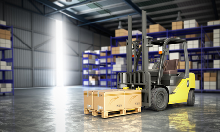 Concept of warehouse The forklift in the big warehouse delivery background 3d illustration Stok Fotoğraf - 83352715