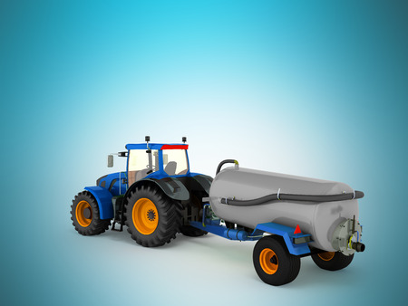 grasslands: Tractor blue with a barrel of gray 3d render on a blue background