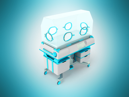 Incubator for newborns light blue 3d rendering on blue background