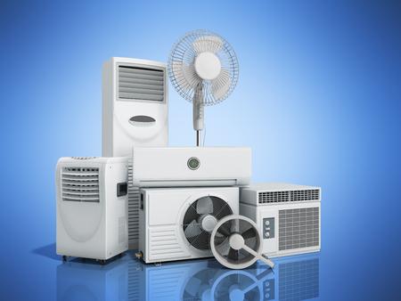 airconditioning apparatuur 3D rensder op blauwe achtergrond Stockfoto