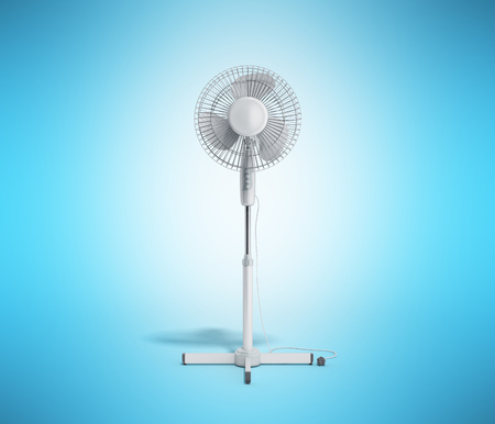 white electric fan 3d render on blue background Stock Photo