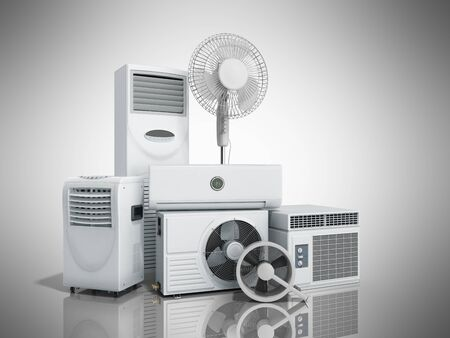 air conditioning equipment 3d rensder on grey background Фото со стока - 83672538