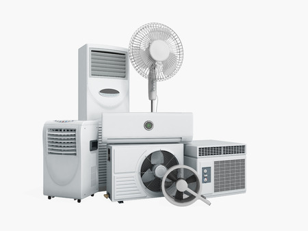 air conditioning equipment 3d rensder on white background no shadow