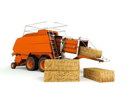 Press baler hay bales orange 3d render on white background no shadow