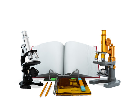 Concepts of school and education biology microscope 3D render on white background