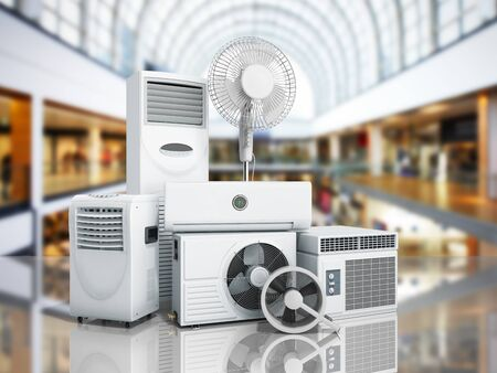 air conditioning equipment 3d rensder on shopping center background Фото со стока - 83849434