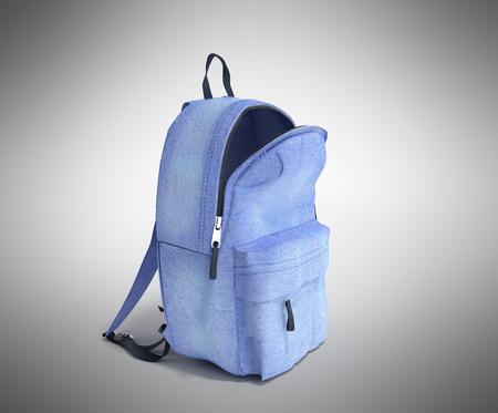 open Backpack bag school 3d render on grey gradient Stock Photo