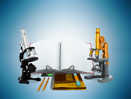 Concepts of school and education biology microscope 3D render on blue background