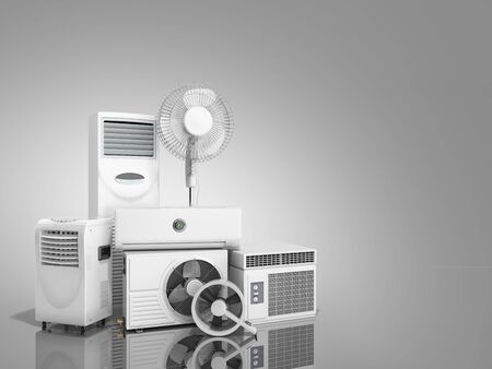 air conditioning equipment 3d rensder on grey background Фото со стока - 84269143