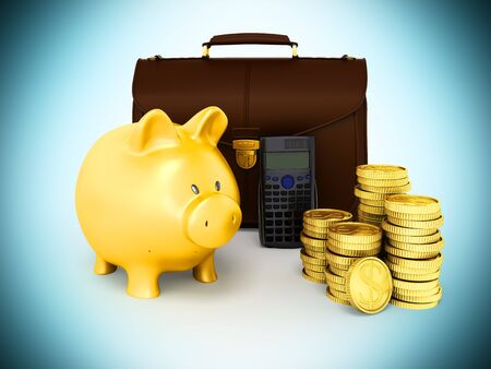 Family budget piggy bank briefcase 3d rendering on blue background