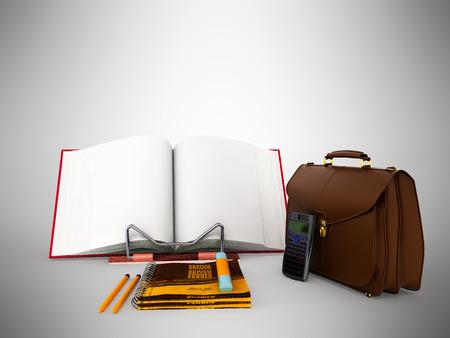 money packs: Saving budget briefcase calculator 3d render on gray background