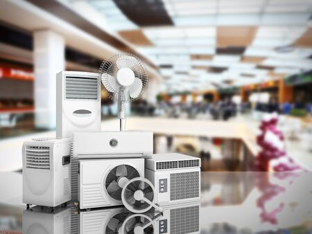 air conditioning equipment 3d rensder background Фото со стока