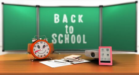 Concept school and education back to school alarm clock notepads 3d render