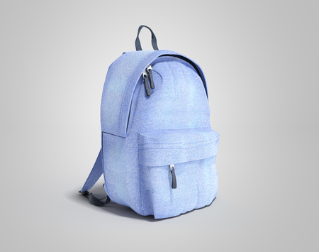 Backpack bag school 3d render on grey