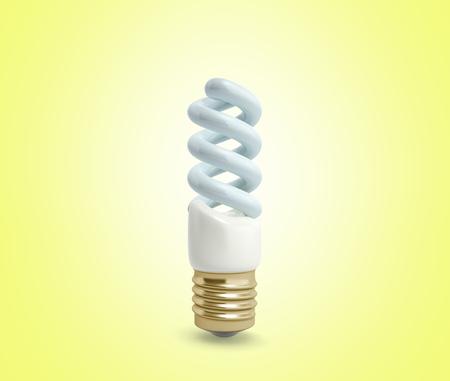econom Lighting Bulb 3d render on yellow background