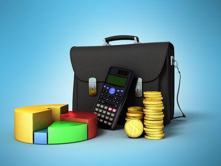 Business statistics calculator briefcase money diagram 3d render on blue background Stock Photo
