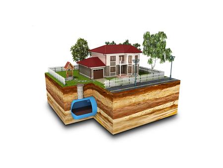 Concept de l'assainissement dans une maison privée rendu 3d sur blanc Banque d'images - 84817579