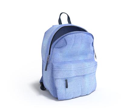 la scuola aperta 3d della borsa dello zaino rende sulla pendenza bianca
