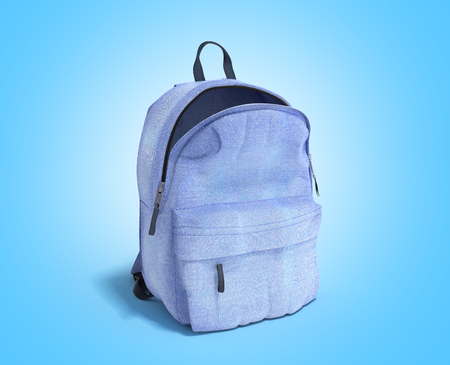open Backpack bag school 3d render on blue gradient Stock Photo