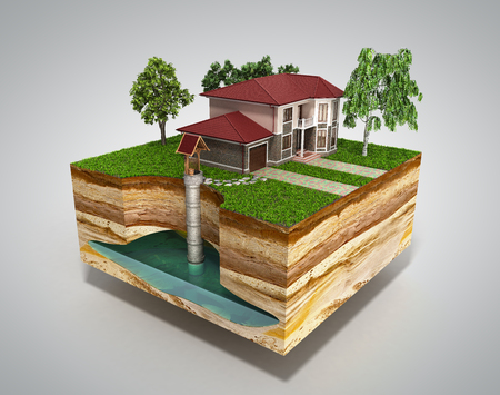 water well system The image depicts an underground aquifer 3d render on grey Фото со стока