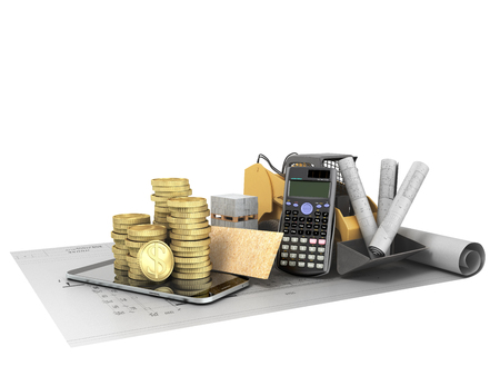 Concept of construction calculations excavator building plates blueprints money 3d render on a white background no shadow